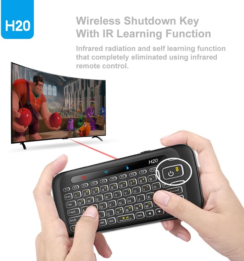 RONSHIN Like for H20 Wireless LED Backlit Mini Keyboard with Full Screen Mouse Touchpad for PC Pad Google Android TV Box