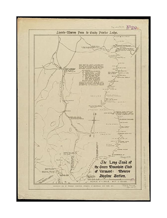 Amazon.com: 1918 Map Vermont|Long Trail The Long Trail of The Green ...