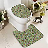 Muyindo U-shaped Toilet Mat-Soft Flowers And Skulls Catholic Ceremy Artistic Bathroom Accessor 2 Piece Toilet Toilet mat