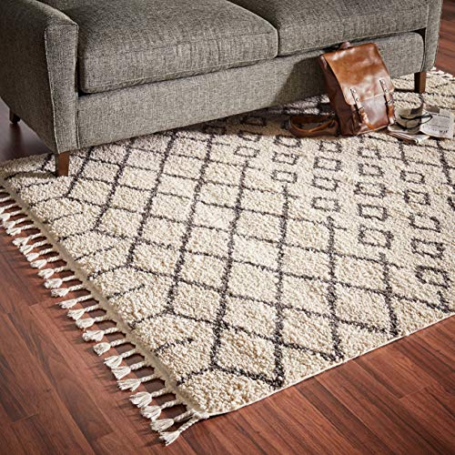 - Rivet Shag Diamond Morrocan Area Rug, 5' 3