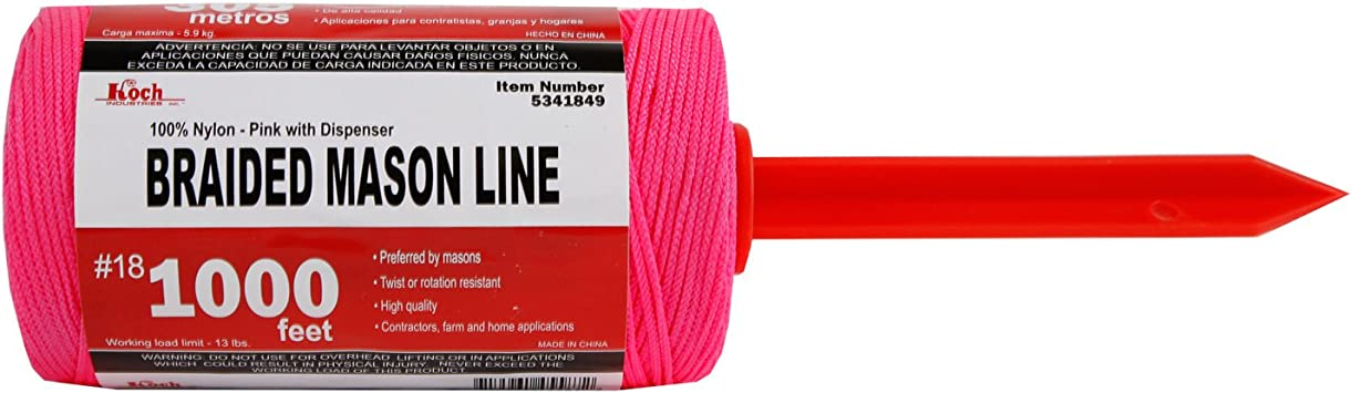 Number 18 by 1000-Feet Pink Koch Industries 5341849 Braided Mason Line Tube with Dispenser