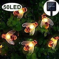 Garden Solar Lights, 50 LED Honeybee Garden Fairy Lights,8 Mode 7M/ 24Ft Waterproof Outdoor/Indoor Solar Powered Decorative Lighting for Home, Patio, Party, Christmas,Decoration (Warm White)