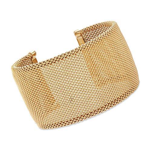 Ross-Simons Italian 18kt Yellow Gold Over Sterling Silver Beaded Cuff Bracelet. 7.5