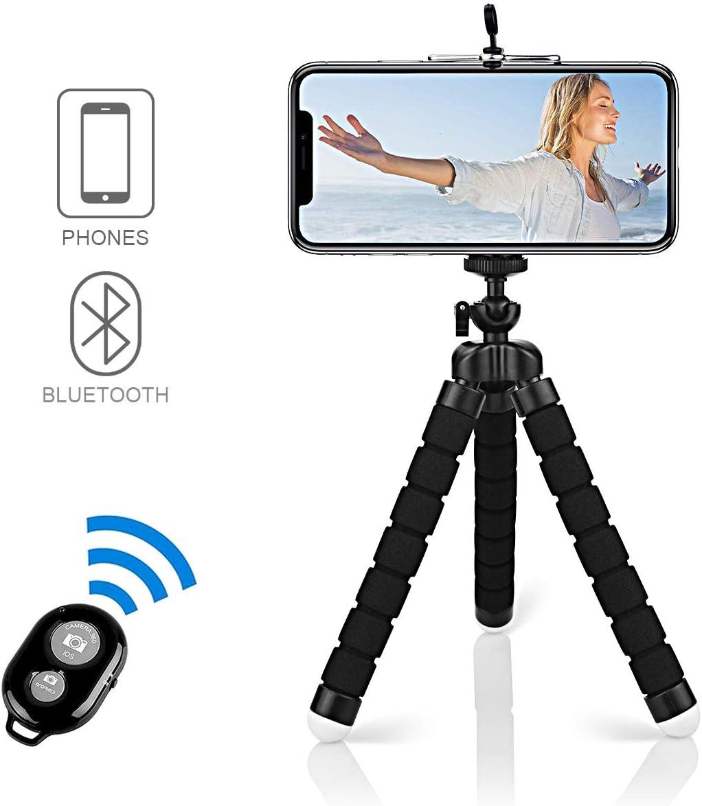 Alfort Mini Trípode, Trípode Móvil Flexible 360°Rotación Teléfonos de Soporte con Control Remoto Portátil Trípode para iPhone 8/8 Plus/Samsung S7 Edge/Huawei P10/Mate 9 Pro y Otros iOS/Android (5.5'')
