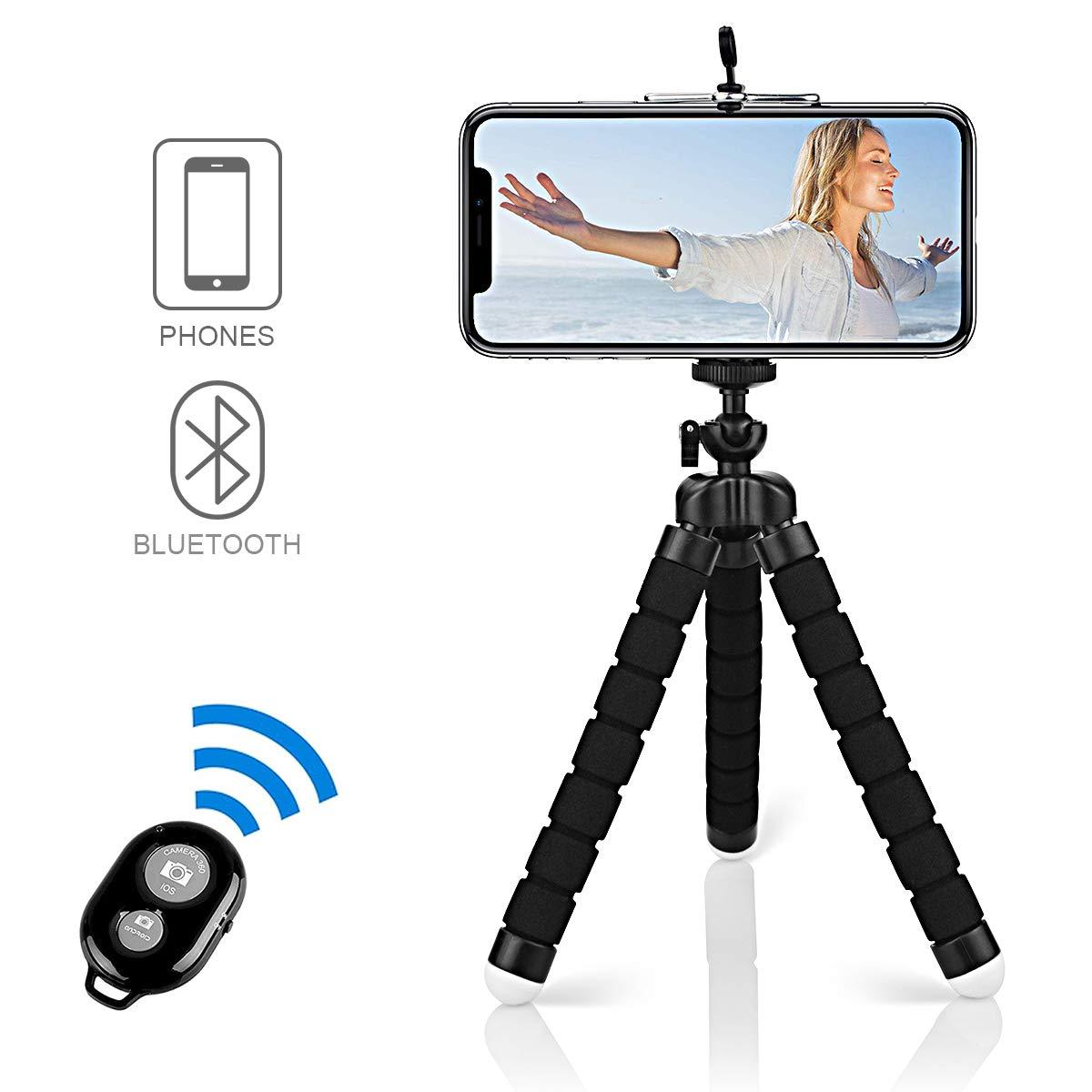 Alfort Mini Trípode, Trípode Móvil Flexible 360° Rotación Teléfonos de Soporte con Control Remoto Portátil