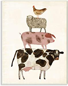 Stupell Industries Cow Sheep Pig and Chicken Barnyard Buds Stacked Farm Animals Wall Plaque, 13 x 19, Design by Artist Victoria Borges