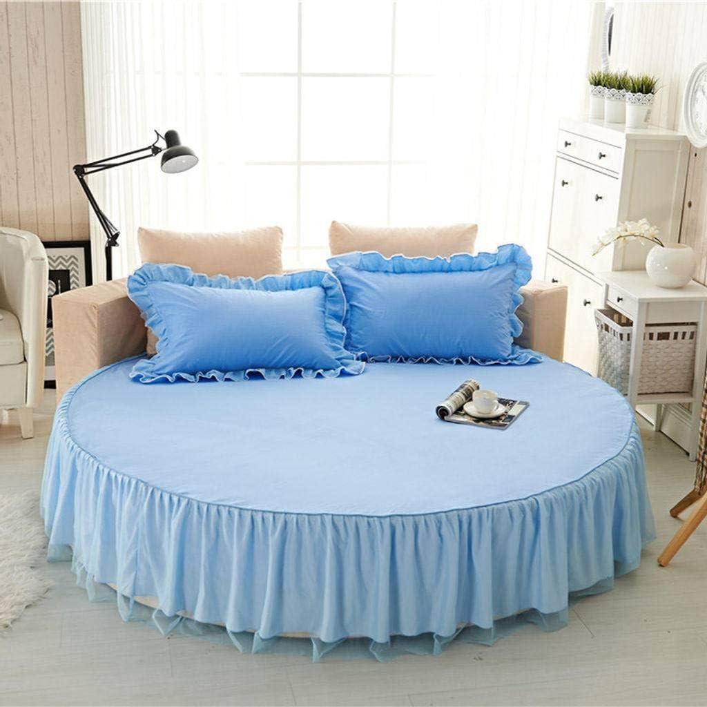 QUNCUNG Color Sólido Redonda Bedding Ruffled Bedskirt ...