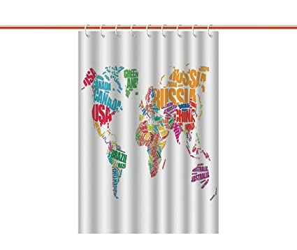 Amazon Com Cool Shower Curtain Wanderlust Decor World Map Made By
