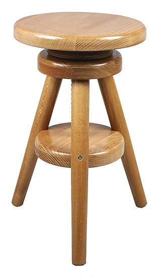 Adjustable Bar Stool Oak Wood Laquer Finish