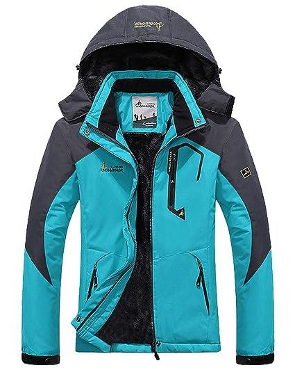 Shengwan Chaqueta de Esquí Mujer Impermeable Invierno Deportes Abrigo Chaqueta de Nieve Lago Azul 2XL
