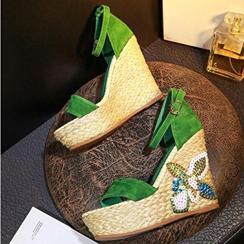 Halm Handsker Hænge bunden Med Af Huden Hochhackige 12cm Sandaler Nbsp Spænde Tykkelsen ; Er Grønne zaqZwFn