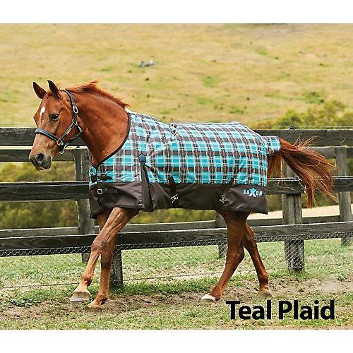 Saxon 1200D Ripstop Standard Neck Lite Turnout Blanket with Gussets, Teal/Plaid, Size (Plaid Turnout Blanket)
