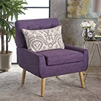 Ella Buttoned Mid Century Modern Muted Purple Fabric Club Chair