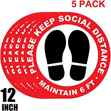 Details about  /Pack of 6-12 INCH Social Distancing Floor Decals Stickers Stand Here Welcome P