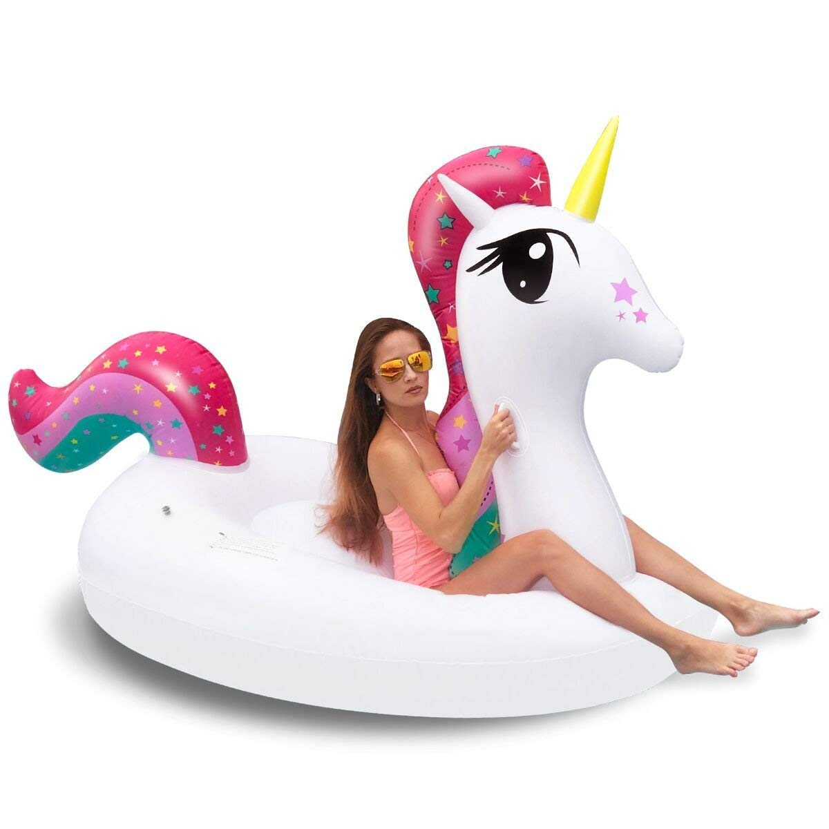 iBaseToy Pool Floats, Giant Inflatable Unicorn Pool Float Floatie Ride On with Rapid Valves Large Rideable Blow Up Summer Beach Outdoor Vacation Swimming Pool Party Lounge Raft for Adults Kids