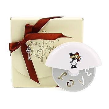 Paquete de 10 unidades cortador de Pizza Rueda, oneplace Regalos exclusivo rectangular de boda,