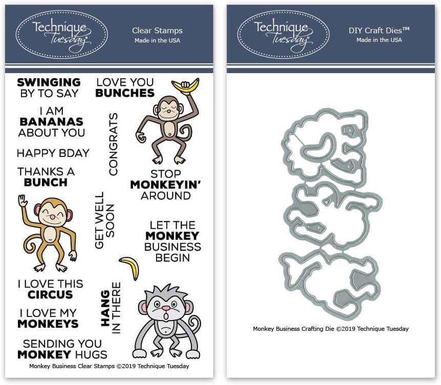 Monkey Business Clear Stamps & Dies Bundle   Photopolymer Stamps   Clear Rubber Stamps   Animal Rubber Stamps   Matching Metal Dies   Die Cuts   Craft Dies   Cutting Dies