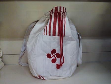 DEVELAN Mochila de algodón con Bordado de Lauburu. Color Rojo ...