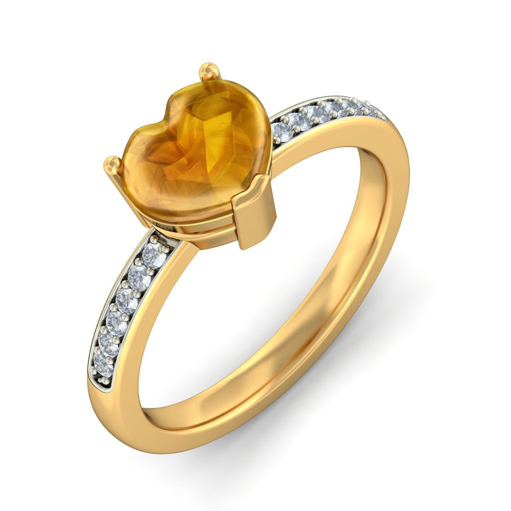 14K Yellow Gold (HallMarked), 0.09 cttw White Diamond (IJ | SI ) Citrine Buff Top Heart and Diamond Engagement Wedding Ring Size - 7.5