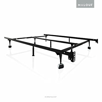 structures by malouf heavy duty 9 leg adjustable metal bed frame with center support and - Bed Frames Amazon