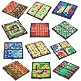 Blue Green Novelty Travel sized board games, magnetic travel games, Chess, Checkers, Tic-tac-toe, Backgammon and Chinese checkers are included