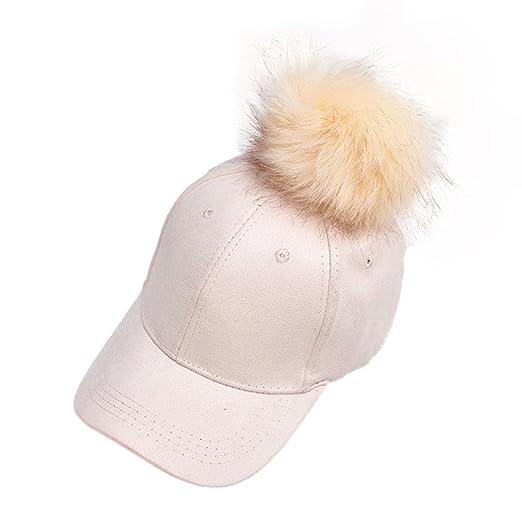 Lonsbo Women Winter Raccoon Fur Ball Cap Hip Hop Fashion Casual Baseball Hat  (Beige) 13a5b6ff1f04