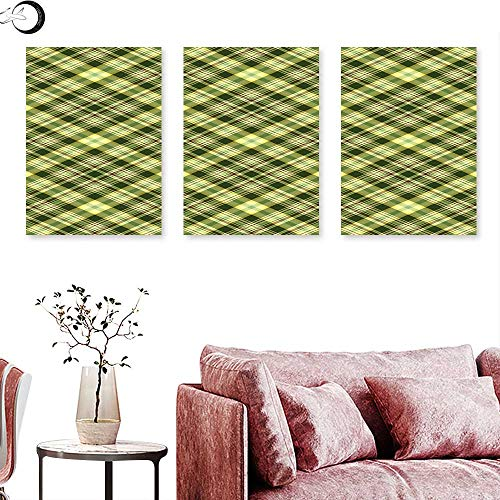 Green and Brown Living Room Home Office Decorations Diagonal Checkered Pattern Irish Tartan Geometric Classic Arrangement Wall painting Fern Green Brown triptych art canvas W 20