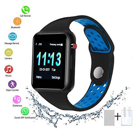 Smart Watch - SUNETLINK Bluetooth Smart Watch with Touch Screen, Android Watch Phone Fitness Tracker with SIM/SD Card Slot, Water Resistance Smart ...