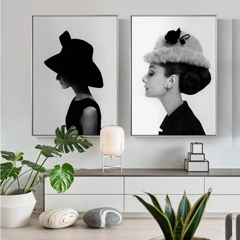 Famoso Retrato en Blanco y Negro, Arte de la Pared, Lienzo, Pintura, Carteles e Impresiones, Cuadros de Pared para la Sala de Estar, decoración del hogar Cuadros -50x70cmx2 Piezas (sin Marco)