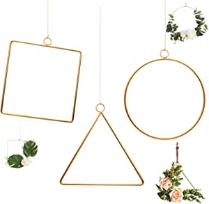 Pack of 3 Matte Brass Champagne Geometric Wire Round Triangle Square Hoop Frame for DIY Flower Arrangement Wreath Macrame Wall Hanging Wedding Baby Shower Backdrop Decor Geometric Wire Wall Decor