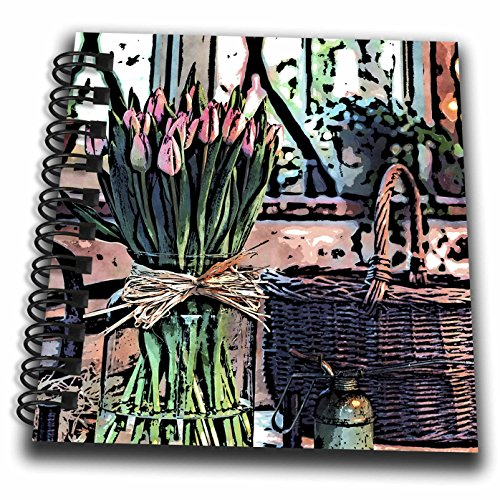 3drose Phil Perkins–Nature–Still Life Flowers In A Vase–Drawing Book 4x4 notepad db_265158_3