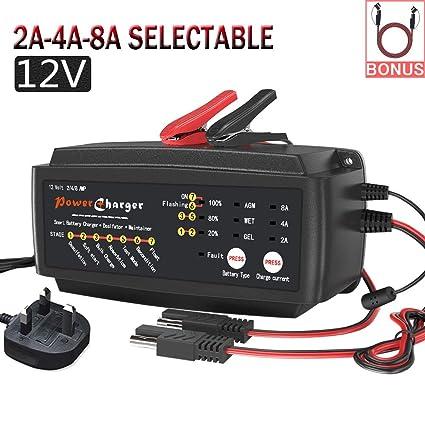 LEICESTERCN Cargador de batería de Coche de 12 V, LST 2/4/8 ...