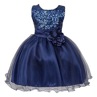 30854fa3ff9bb IWEMEK Petite Fille Fleur Robe de Princesse Paillettes Demoiselle d honneur  Enfants Robe de Anniversaire