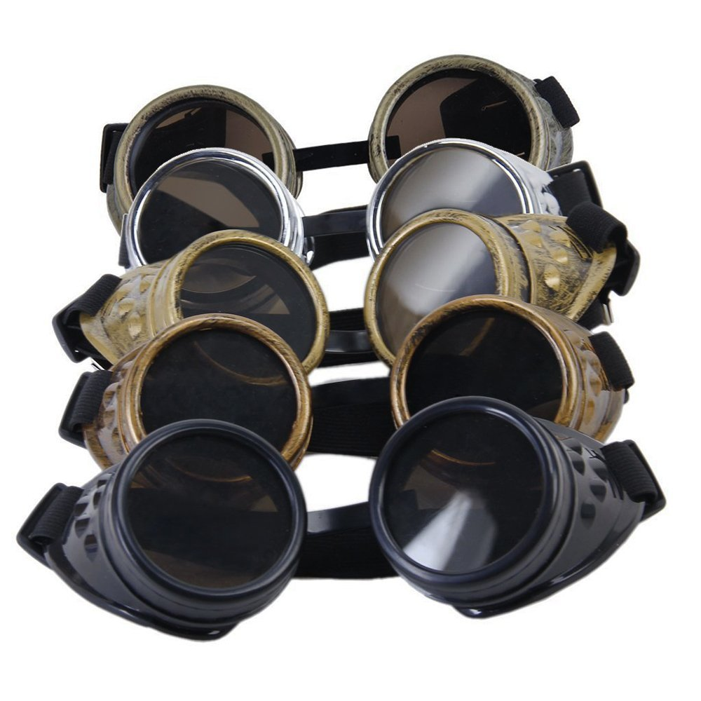 Jooks Vintage Goggles Cyber Goggles Fashion Steampunk Welding Goth Cosplay Vintage Goggles Antique Cyber Goggles Cosplay Costuming Black