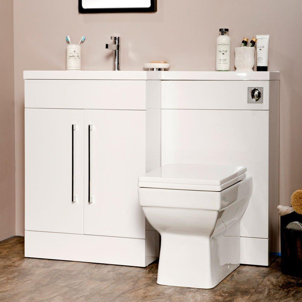 Manhattan 1095mm White Gloss L Shape Bathroombination Furniture Package  (left Hand): Amazon: Kitchen & Home