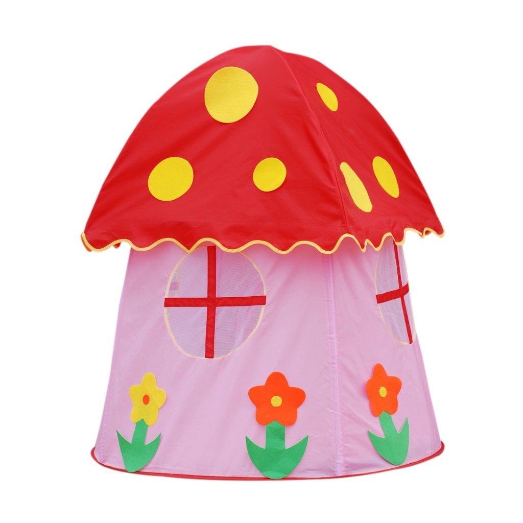 SESO UK- Prinz oder Prinzessin Sommer Pilz Kinder Kinder spielen Zelt Haus kriechen Indoor oder Outdoor Garten Spielzeug Spielhaus Strand Sonne Pop Up Zelt Haus Jungen Mädchen (107x107x112cm)