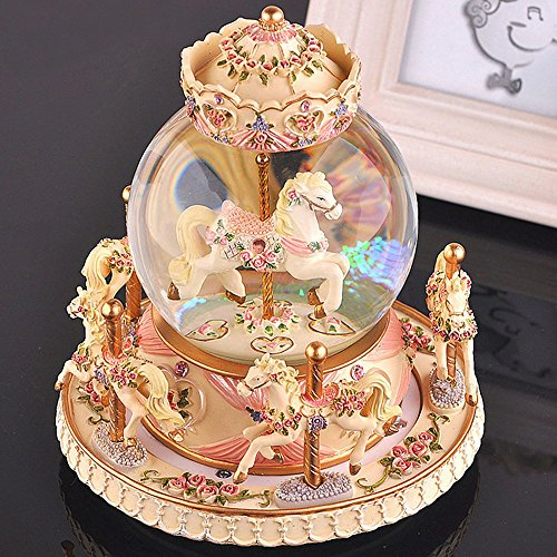 Glass Ornament Carousel (LOHOME Rotate Music Box, Luxury Carousel Crystal Ball Glass Ball Doll Miniature Dollhouse Toy with Castle in the Sky Tune Perfect for Christmas Gift Birthday Gift Valentine's Day (Warm Yellow))
