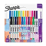 Sharpie Electro Pop Permanent Markers, Ultra Fine Point, Assorted Colors, 24 Count (Office Product)