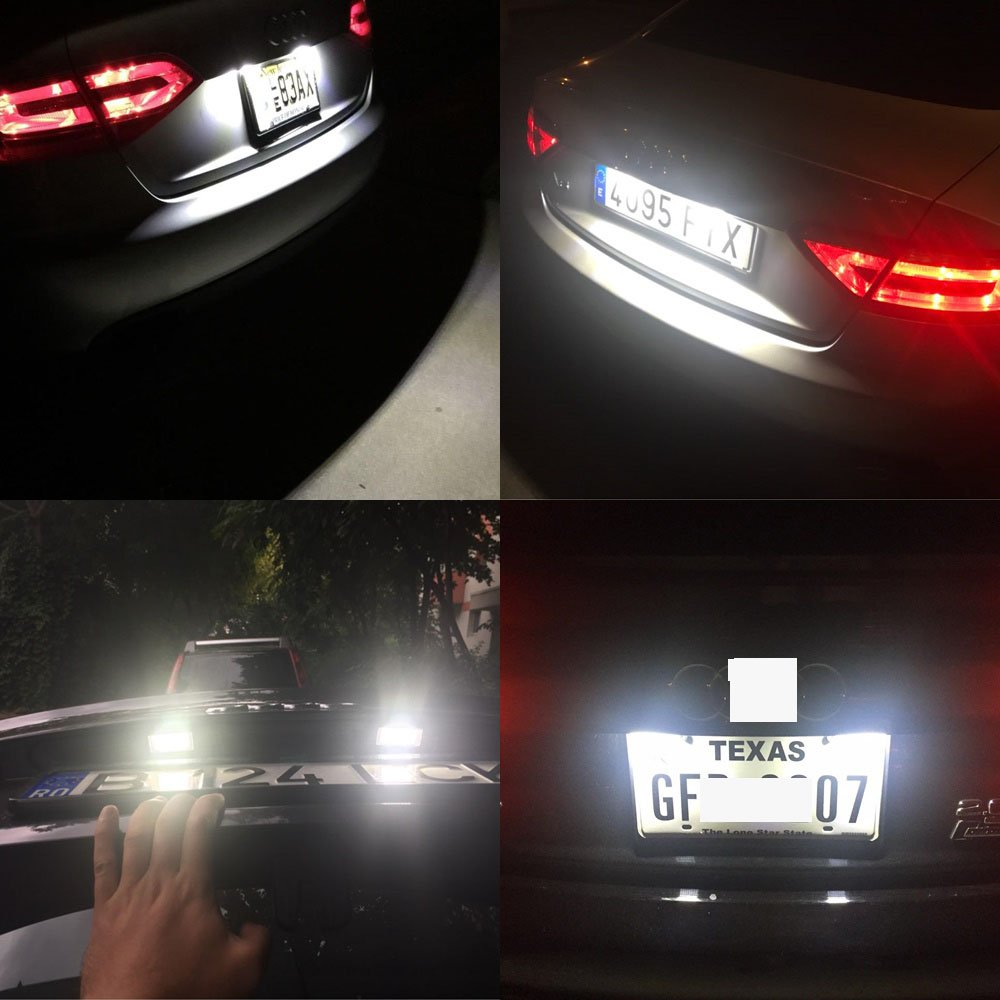 LED Car License Plate Light Assembly 12V 24 Led lamp bulb for Audi A1 A4 A5 A6 A7 Q5 S5 RS5 TTRS TT ALLROAD Error Free Direct Replacement White Rear Number Plate Lamp 2 PCS