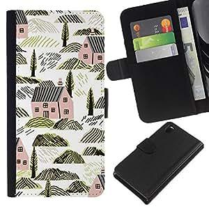 Casas Arquitectura Rocas Naturaleza- la tarjeta de Crédito Slots PU Funda de cuero Monedero caso cubierta de piel Para Sony Xperia Z3 D6603