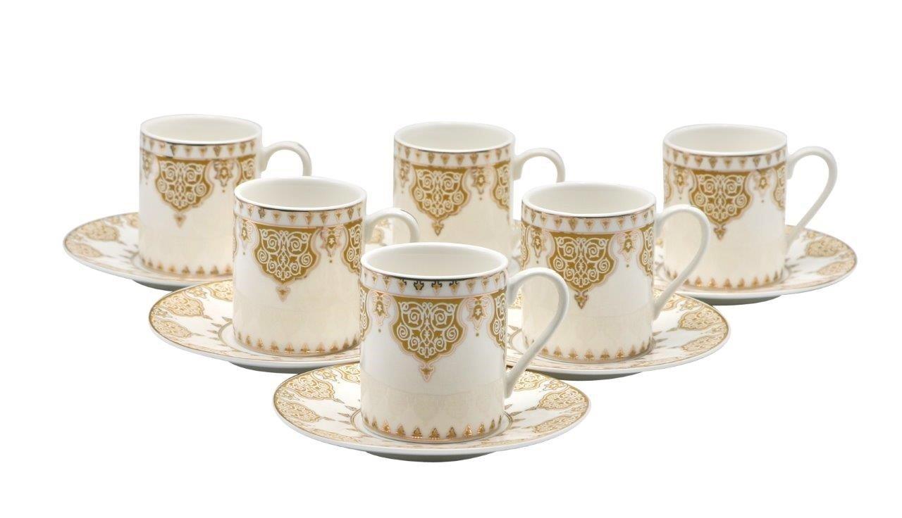 Porcelain Bone China Espresso Turkish Coffee Demitasse Set of 6 Arabesque Pattern Cups + Saucers (Black) Prestige Kitchen