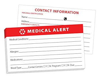 Amazon Com Medical Alert Wallet Card 10 Pack Health Personal Care