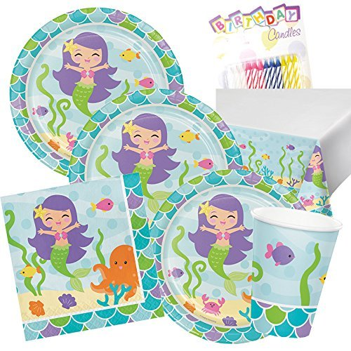 1st Baby Mermaid Party Birthday Supplies Package for 16 Guest Plates Napkins Cups First Tableware Supply Set Kit include Tablecloth Party Pack of Birthday Candles (Mermaid Themed Party Ideas)