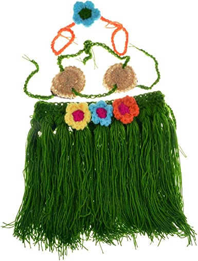 Crochet Hawaiian Hula Outfit Newborn Kids Girls Costume Photography