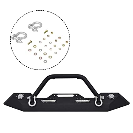 2c015d5c94 Image Unavailable. Image not available for. Color: Goplus Front Bumper w/ Hooks & Fog Light Hole for 2007-2016 Jeep Wrangler