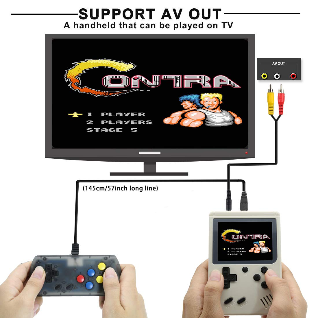 AKTOUGST Retro Handheld Game Console FC System 168 Classic Game Portable Video Game 3 Inch 2 Player Plus Extra Joystick Game Console Support on TV,Presend for Kid Adult, (White) by AKTOUGST (Image #3)