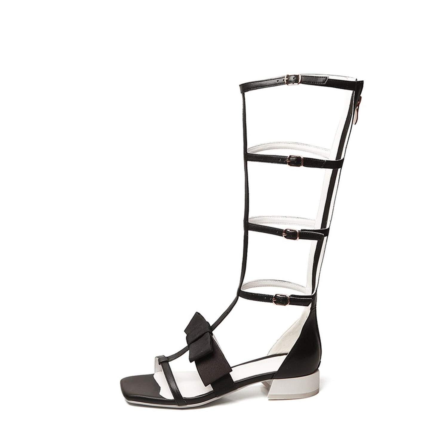 2019 Genuine Leather Gladiator Sandals Women Shoes Buckle Solid Color Ladies Shoes Knee high Sandals
