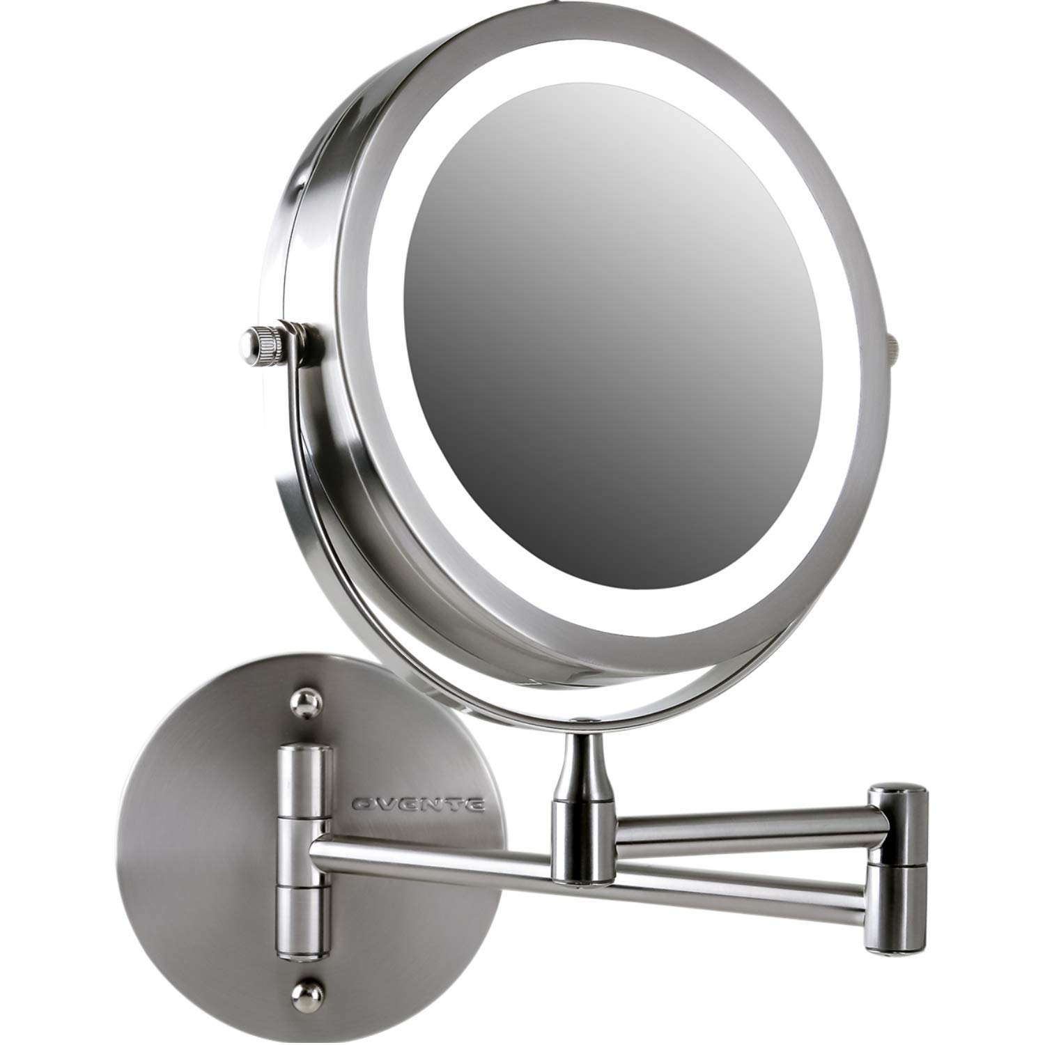 Ovente Wall Mount LED Lighted Makeup Mirror, Battery Operated, 1x/10x Magnification, 7'', Nickel Brushed (MFW70BR1x10x) by Ovente