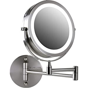 "OVENTE Wall Mount LED Lighted Makeup Mirror, Battery Operated, 1x/10x Magnification, 7"", Nickel Brushed (MFW70BR1x10x)"