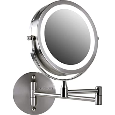 Ovente Wall Mount LED Lighted Makeup Mirror, Battery Operated, 1x/10x Magnification, 7 , Nickel Brushed (MFW70BR1x10x)